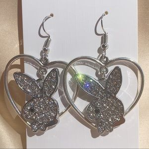 Jewelry - Hanging Rhinestone Playboy Bunny Heart Hoops